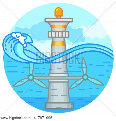 Tidal Energy Power Plant. Eco Green Energy Concept. Illustration In Flat Style
