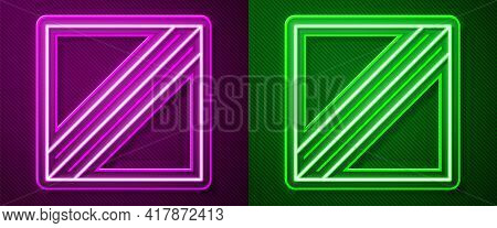 Glowing Neon Line Textile Fabric Roll Icon Isolated On Purple And Green Background. Roll, Mat, Rug,