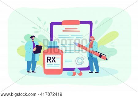 Rx Prescription Flat Vector Illustration. Cartoon Tiny Pharmacists Recommending Therapy And Medicati