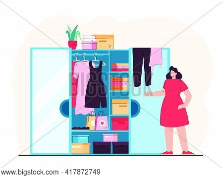 Smiling Woman Standing In Front Of Open Wardrobe Flat Vector Illustration. Cartoon Lady Choosing Clo