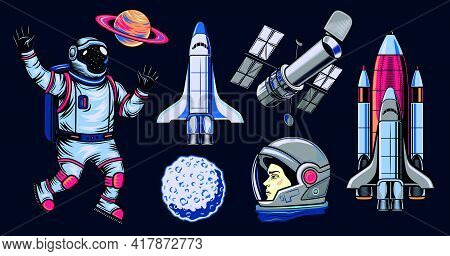 Space Flat Illustration Set. Colored Comic Elements Of Astronaut, Space Shuttle, Saturn And Satellit
