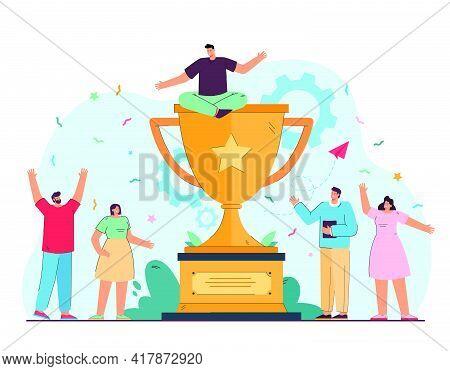 Tiny Corporative Winners Celebrating Victory Flat Vector Illustration. Cartoon Happy Champion Team N