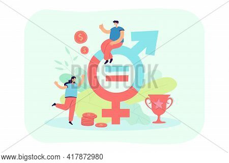 Tiny People Near Money And Gender Sign Flat Vector Illustration. Cartoon Female And Male Characters