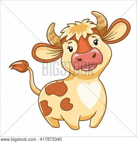 Vector Cute Bull In Cartoon Style, Symbol Of The Year 2021, Cow, Horoscope Taurus