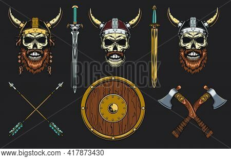 Viking Skulls Set. Medieval Warrior Heads In Horns Helmets With Swords And Axes. Vector Illustration