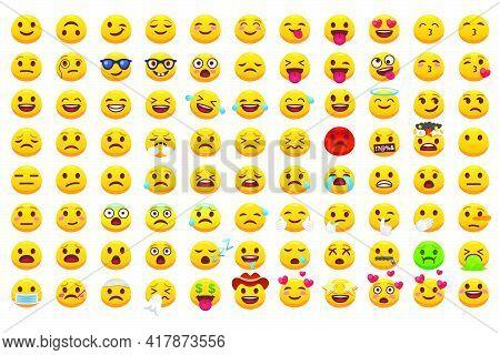 Various Emoji Faces Flat Icons Big Set For Web Design. Cartoon Yellow Emotion Circles Icons Smiling,