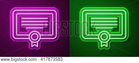Glowing Neon Line Certificate Template Icon Isolated On Purple And Green Background. Achievement, Aw