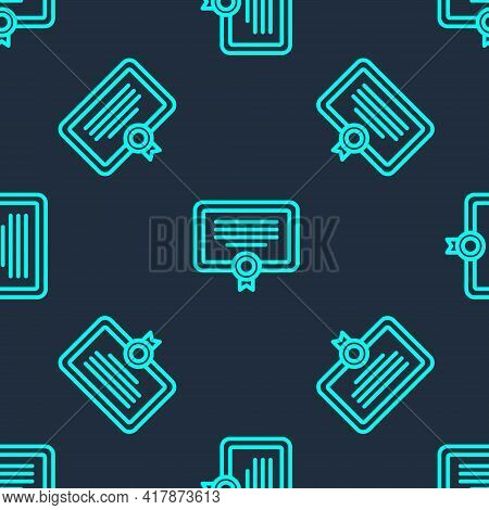 Green Line Certificate Template Icon Isolated Seamless Pattern On Blue Background. Achievement, Awar