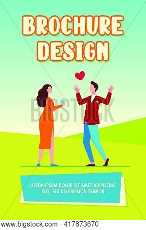 Young Couple In Love Dating. Meeting, Red Heart, Drinking Alcohol. Flat Vector Illustration. Relatio