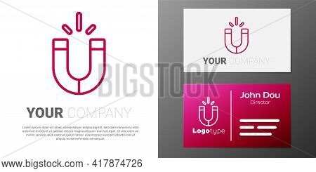 Logotype Line Magnet Icon Isolated On White Background. Horseshoe Magnet, Magnetism, Magnetize, Attr