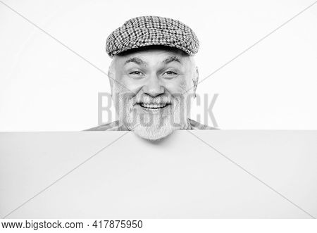 Senior Bearded Emotional Man Peek Out Of Banner Place Announcement. Event Announcement. Pensioner Gr
