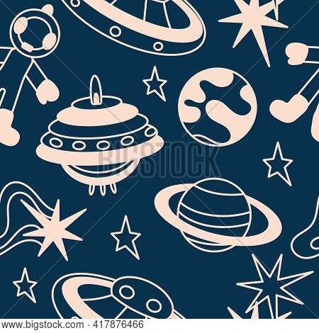 Cartoon Space Seamless Pattern. Spaceships, Astronauts And Planets. Wallpaper Background Backdrop. B