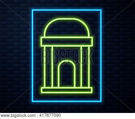 Glowing Neon Line Old Crypt Icon Isolated On Brick Wall Background. Cemetery Symbol. Ossuary Or Cryp