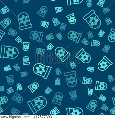 Green Line Tombstone With Star Of David Icon Isolated Seamless Pattern On Blue Background. Jewish Gr