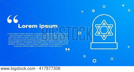 White Line Tombstone With Star Of David Icon Isolated On Blue Background. Jewish Grave Stone. Graves