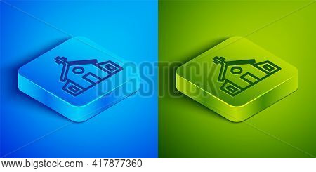 Isometric Line Church Building Icon Isolated On Blue And Green Background. Christian Church. Religio