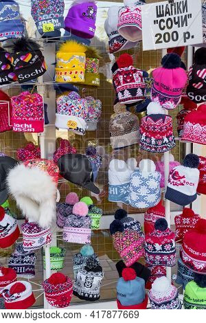 Sochi, Russia - March 2, 2020: Souvenirs For Tourists With The Symbols Of Sochi. Bright Warm Knitted