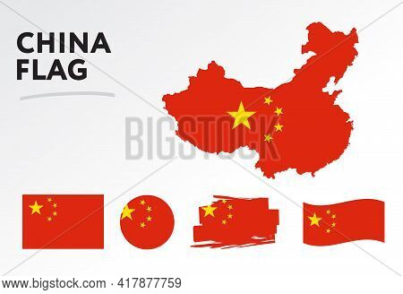Various Designs Of The China Flag And Map. World Flags. Vector Set. Circle Icon. Brush Stroke. Templ