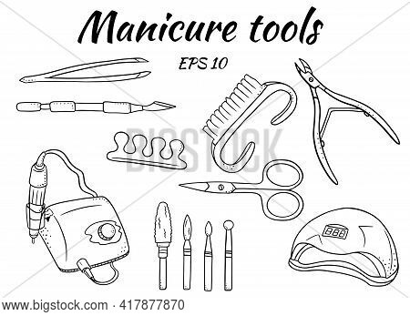 A Set Of Manicure Tools. Tools For Hardware Manicure And Pedicure. Apparatus For Manicure, Cutters,