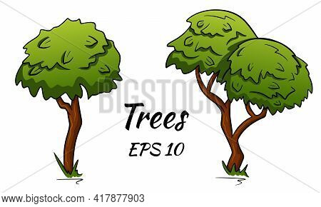 Set Of Abstract Stylized Trees. Two Deciduous Trees. Vector Set Of Trees In Cartoon Style.