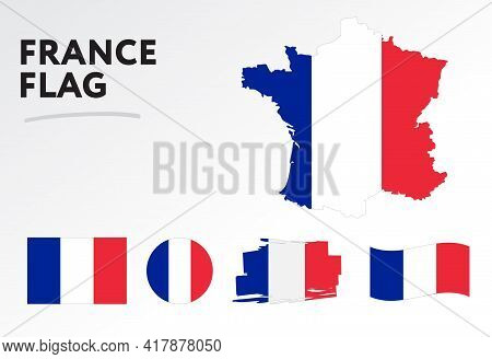 Various Designs Of The France Flag And Map. World Flags. Vector Set. Circle Icon. Brush Stroke. Temp