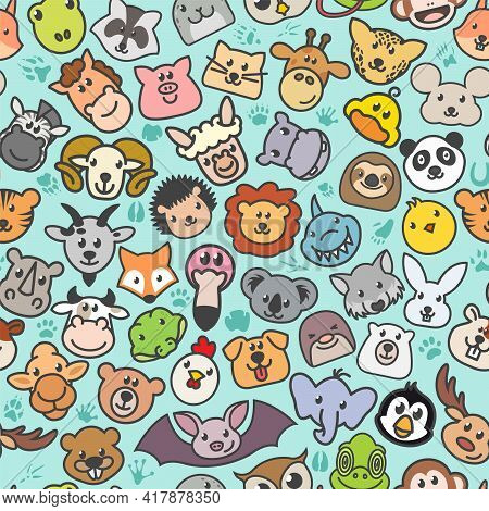Vector Cute Animals Seamless Texture. Pattern Of The Faces Of Various Mammals And Birds. Print Fabri