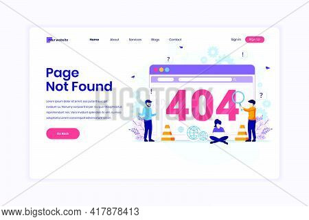 Landing Page Design Concept Of 404 Error Page Not Found With People Trying To Fix Error On A Web Scr