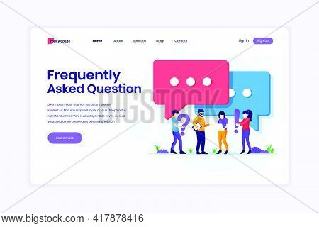 Landing Page Design Concept Of Frequently Asked Question Or Faq Concept, People With Near Big Exclam