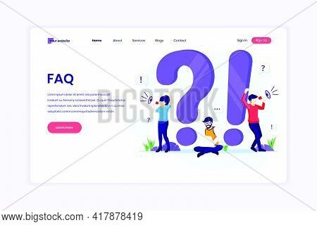 Landing Page Design Concept Of Frequently Asked Question Or Faq Concept With People Work Near Big Ex