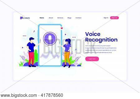 Landing Page Design Concept Of Voice Recognition, Voice Security Identification. Digital Voice Assis
