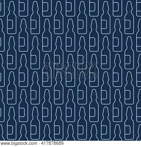 Seamless Pattern With Glass Ampules. Linear Style. Outline Icons, Isolated On Dark Blue Background.