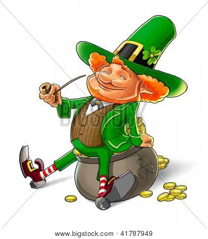 elf leprechaun smoking pipe for saint patrick's day. Rasterized illustration. Vector version also available in my gallery.