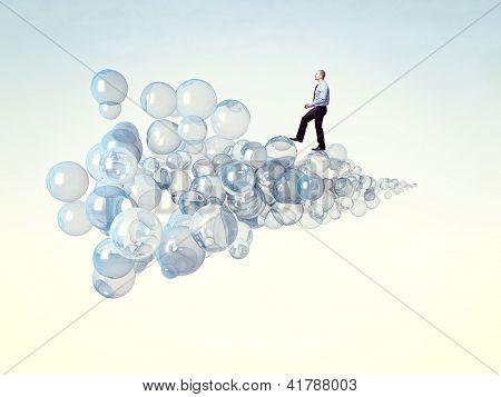caucasian man walk on 3d bubbles