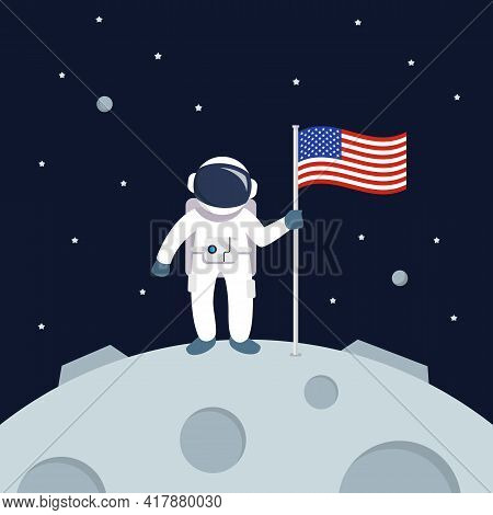 Astronaut Landing On Moon Holding American Flag. Star And Planets On Galaxy Background. Flat Style V