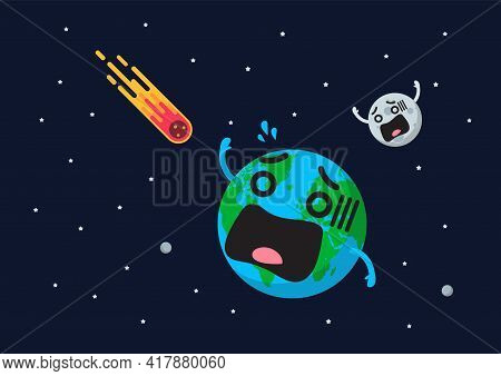 Giant Asteroid Is Approaching To Frightening Earth. Flat Style Vector Illustration