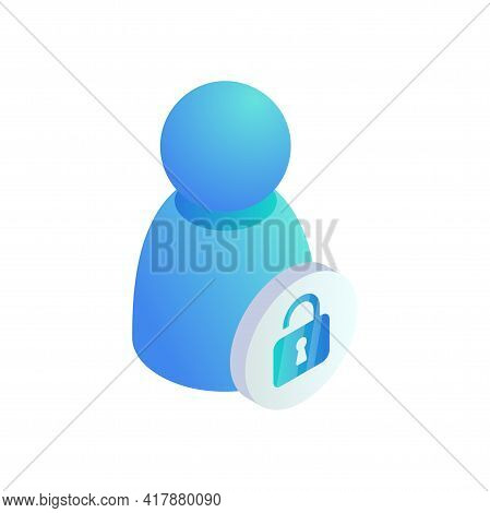 User Account Open Web Profile Protection Isometric Icon. 3d Personal Private User Sign. Vector Unblo