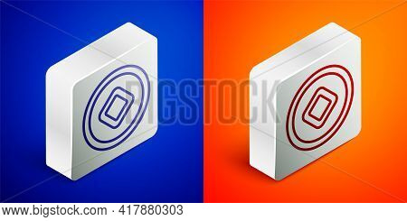 Isometric Line Chinese Yuan Currency Symbol Icon Isolated On Blue And Orange Background. Coin Money.