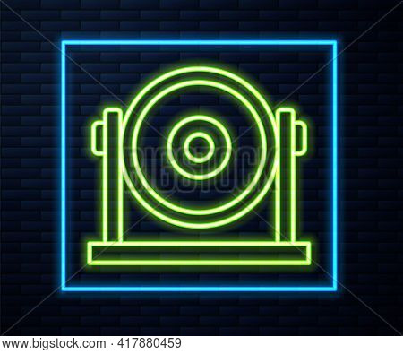 Glowing Neon Line Gong Musical Percussion Instrument Circular Metal Disc Icon Isolated On Brick Wall