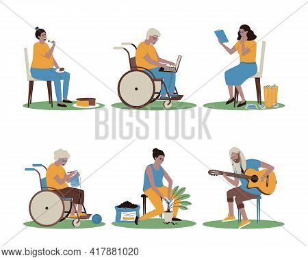 A Set Of Men And Women Engaged In Their Favorite Business. Plays The Guitar, Plants Flowers, Reads O