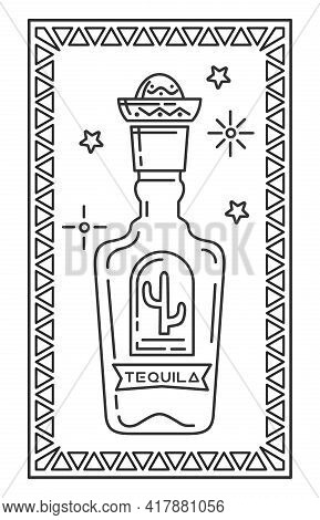 Tequila Bottle With A Cactus On The Label And A Mexican Sombrero Cap. Tequila Line Icon. Vector Illu