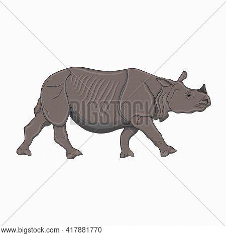 Detailed Illustration Of An Adult Rhinoceros, One-horned Rhinoceros. Vector Illustration Of An Afric