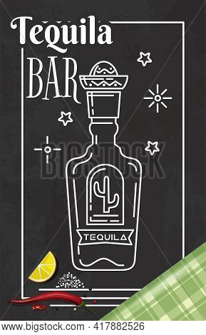 Tequila Bar Logo Design. Label For Bar, Cafe Restaurant In Mexican Style With A Picture Of A Bottle