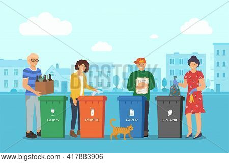 People Sorting Garbage For Recycling In City Street. Responsible Men And Women Stand Near Dustbin An