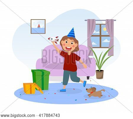 Happy Cute Little Kid Opens Gifts For His Birthday. Smiling Little Child Is Playing With A New Toy R