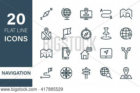 Navigation And Map Line Icons. Navigation, Road Location, Destination Line Icons. Map, Pointer, Pin,