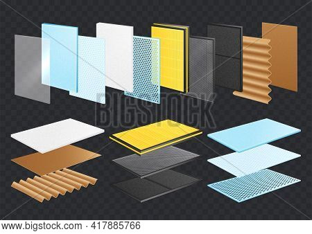 Layered Materials Realistic Set With Transparent Background And Rectangular Samples Of Materials Lay