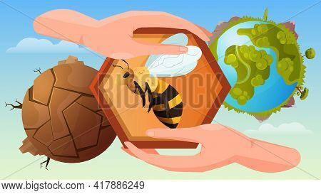 Bee Protection Flat Poster With Human Hands Holding Honeycomb At Blooming And Dead Planet Background