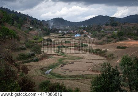 A Picturesque Local Farm Village With Rice And Chilli Fields While Hike Kalaw To Inle Lake, Shan Sta