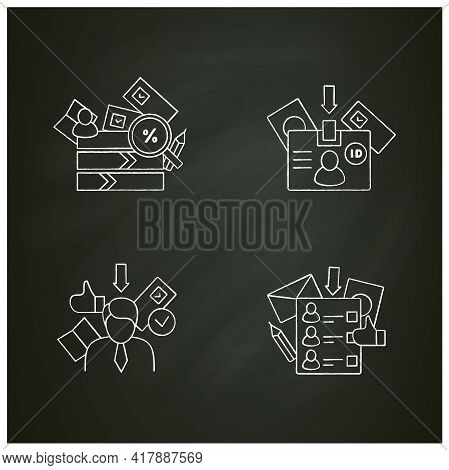 Election Chalk Icons Set.id Card, Candidate, Vote Counting, Ballot. Choice, Vote Concept. Democracy.