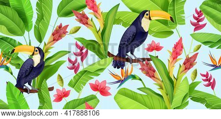 Tropical Vector Seamless Pattern, Toucan, Floral Jungle Texture, Paradise Flowers, Green Banana Leaf